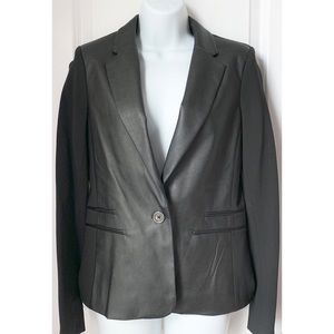 Michael Kors Black Leather Front One Button Blazer